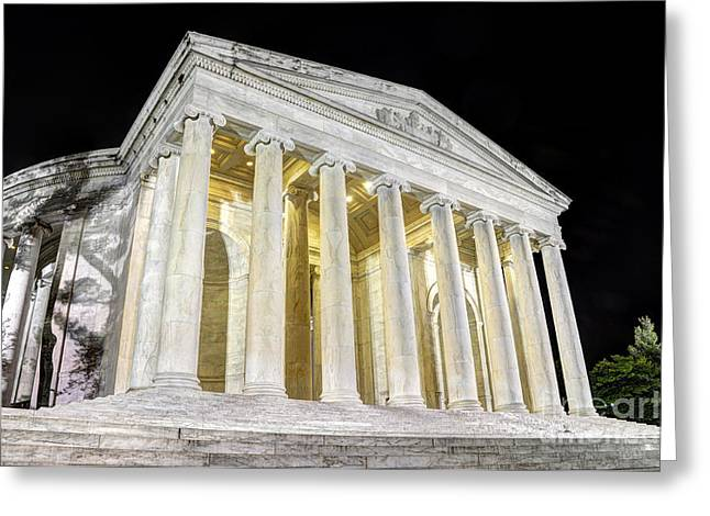 District Columbia Greeting Cards - Thomas Jefferson Memorial at Night  Greeting Card by Gary Whitton