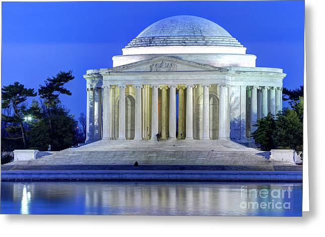 Jefferson Greeting Cards - Thomas Jefferson Memorial at Night Reflected in Tidal Basin Greeting Card by Gary Whitton