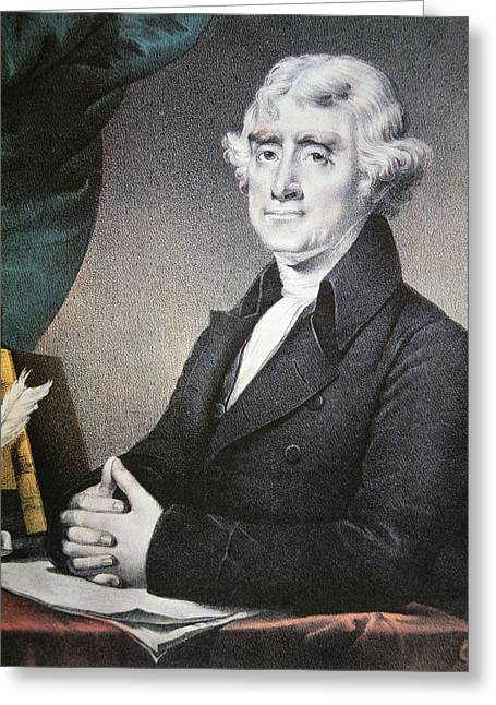 Declaration Of Independence Drawings Greeting Cards - Thomas Jefferson Greeting Card by Nathaniel Currier