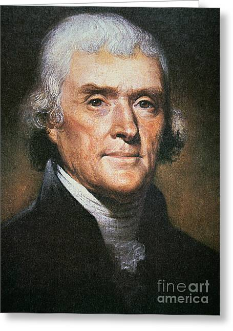 Jefferson Paintings Greeting Cards - Thomas Jefferson Greeting Card by Rembrandt Peale