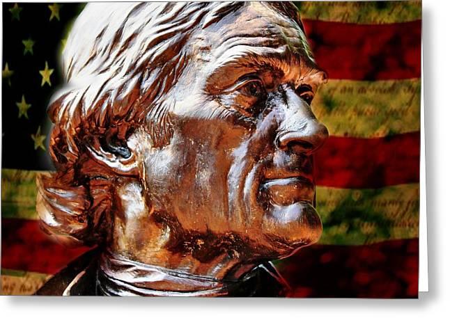 Flag Of Usa Greeting Cards - Thomas Jefferson Statue  Greeting Card by Judy Palkimas