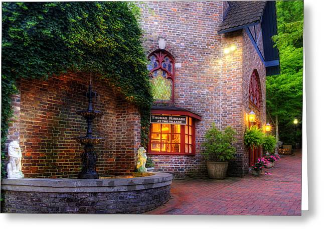 Kinkade Greeting Cards - Thomas Kinkade At The Village in Gatlinburg Greeting Card by Greg and Chrystal Mimbs