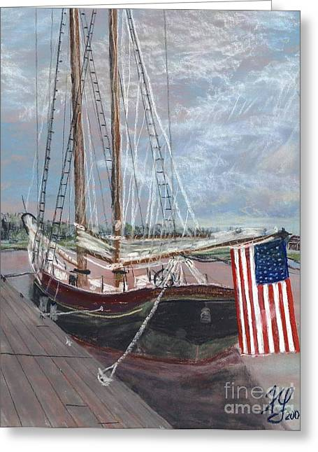 Thomas Pastels Greeting Cards - Thomas Lannon Schooner Greeting Card by Francois Lamothe