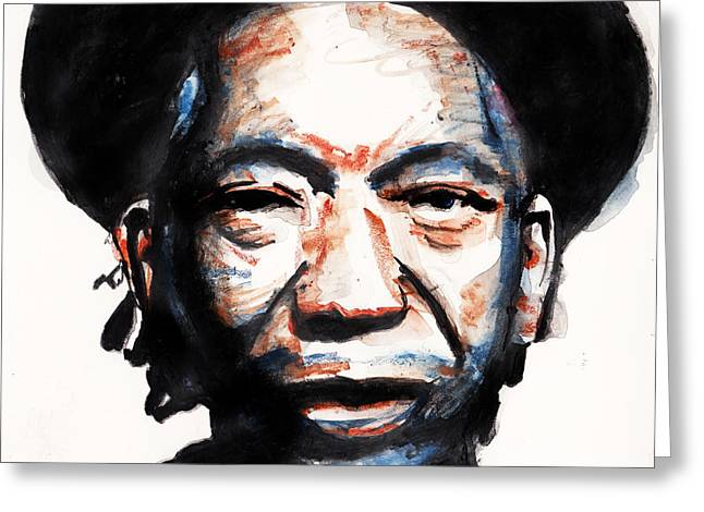 Zimbabwe Drawings Greeting Cards - Thomas Mapfumo Greeting Card by Nancy Mergybrower