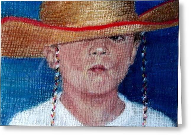 Portrait Of A Young Boy Greeting Cards - Thomas Greeting Card by Mary Lynne Powers