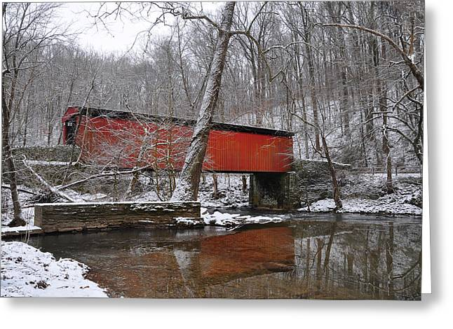 Fairmount Park Greeting Cards - Thomas Mill Covered Bridge in the Snow Greeting Card by Bill Cannon