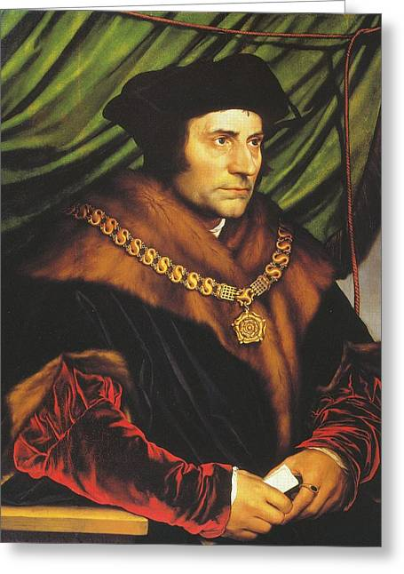 Henry Viii Greeting Cards - Thomas Moore Greeting Card by Hans Holbein the Younger