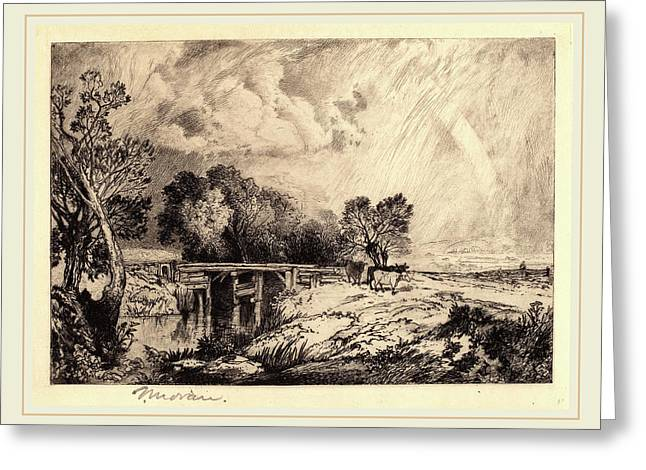 Thomas Moran, A Rustic Bridge, American, 1837-1926 Greeting Card by Litz Collection