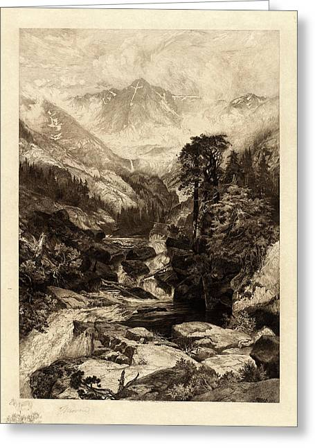 Thomas Moran American, 1837 - 1926, The Mountain Greeting Card by Quint Lox