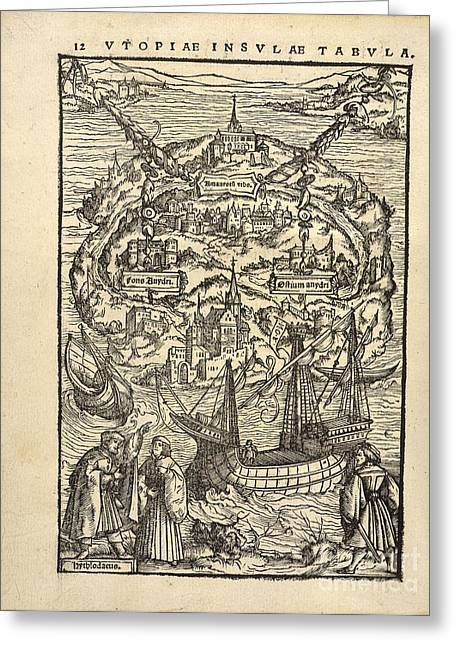 1518 Greeting Cards - Thomas Mores utopia (1518) Greeting Card by British Library
