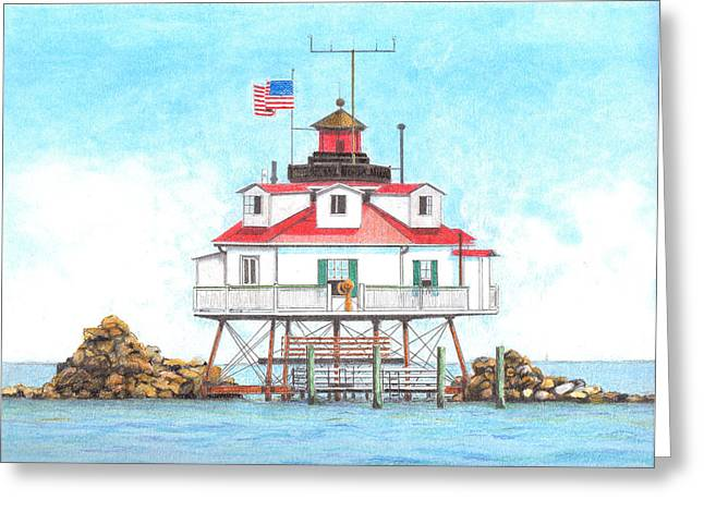 Graphite Pastels Greeting Cards - Thomas Point Lighthouse Greeting Card by David Gallagher