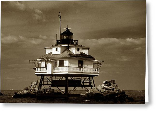 Annapolis Maryland Greeting Cards - Thomas Point Shoal Lighthouse Sepia Greeting Card by Skip Willits