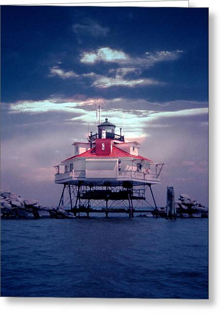 Legendary Greeting Cards - Thomas Point Shoal Lighthouse Greeting Card by Skip Willits
