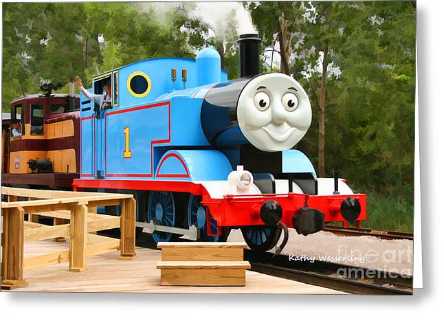 Huckleberry Railroad Greeting Cards - Thomas the Tank Engine VI Greeting Card by Kathy Wesserling
