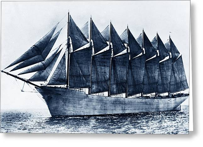 Recently Sold -  - Schooner Greeting Cards - Thomas W. Lawson Seven-Masted Schooner 1902 Greeting Card by California Views Mr Pat Hathaway Archives