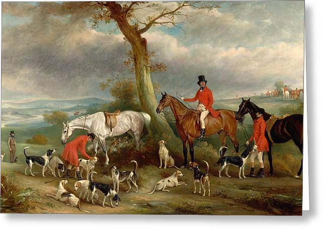 Foxhound Greeting Cards - Thomas Wilkinson MFH with the Hurworth Foxhounds Greeting Card by John Ferneley