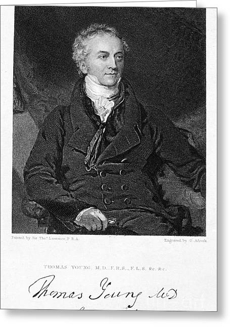 Autograph Greeting Cards - Thomas Young (1773-1829) Greeting Card by Granger