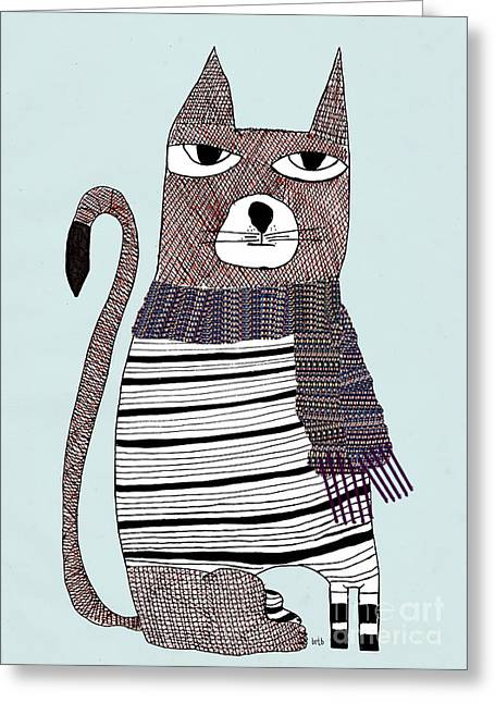 Cat Eyes Drawings Greeting Cards - Thomson Greeting Card by Bri Buckley