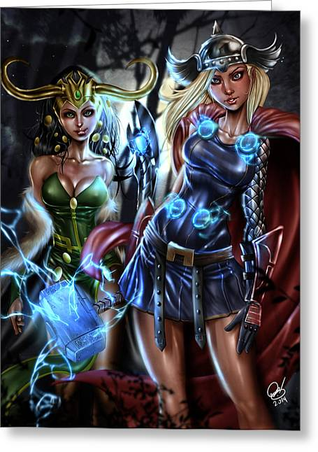 Recently Sold -  - Mj Drawings Greeting Cards - Thor and Loki Greeting Card by Pete Tapang