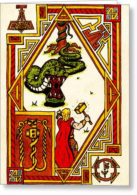 Illuminate Drawings Greeting Cards - Thor and the Serpent Greeting Card by Michael Lee