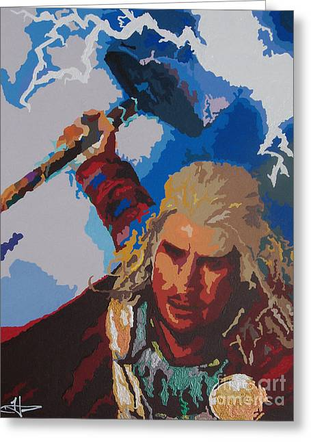 Thor Paintings Greeting Cards - THOR - Bring The Thunder Greeting Card by Kelly Hartman
