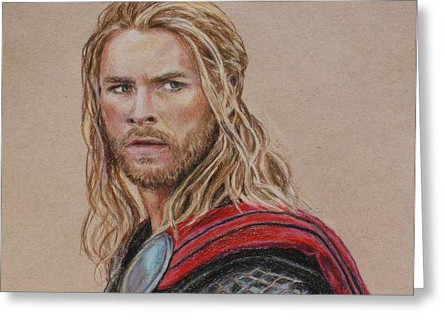 Thor Drawings Greeting Cards - Thor Greeting Card by Christine Jepsen