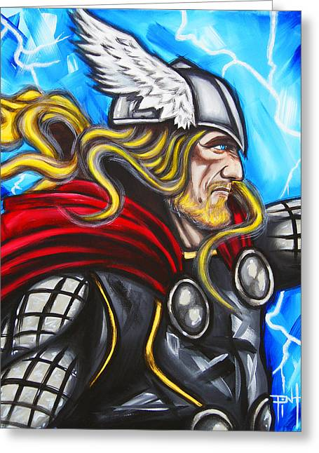 Thor Paintings Greeting Cards - Thor Greeting Card by Erik Pinto