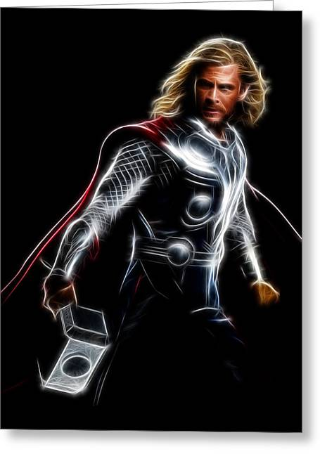 Super Greeting Cards - Thor God Of Thunder Greeting Card by - BaluX -