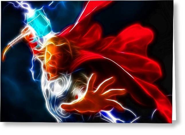 Actions Mixed Media Greeting Cards - Thor God of Thunder Greeting Card by Pamela Johnson