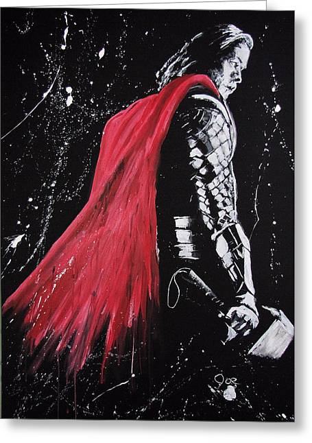 Thor Mixed Media Greeting Cards - Thor Greeting Card by Joseph Everson