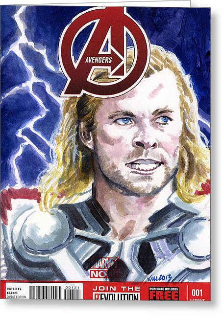 Thor Paintings Greeting Cards - Thor Greeting Card by Ken Meyer jr