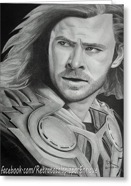 Thor Drawings Greeting Cards - Thor Odinson - Chris Hemsworth Greeting Card by Enrique Garcia