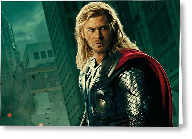Cabin Wall Digital Art Greeting Cards - Thor the Avenger Greeting Card by Movie Poster Prints
