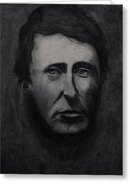 Henry David Thoreau Drawings Greeting Cards - ThOreau Greeting Card by Uba Obasi