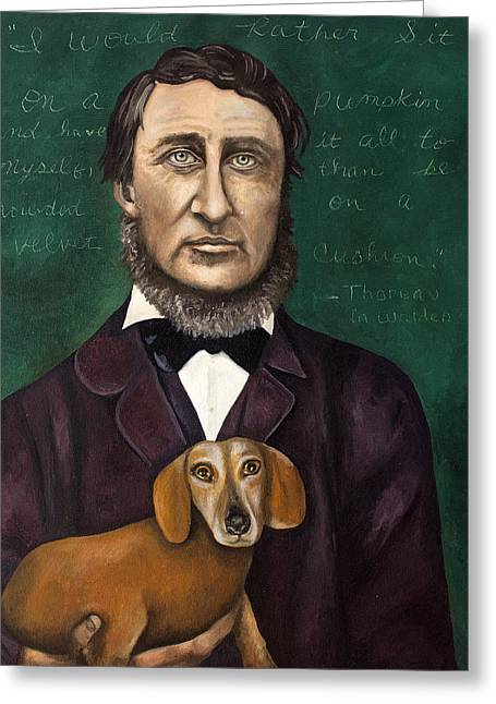 Thoreau With Louis Le Bref Greeting Card by Leah Saulnier The Painting Maniac