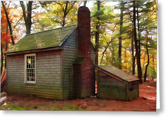 Walden Pond Greeting Cards - Thoreaus Cabin at Walden Pond  Greeting Card by Tom Christiano