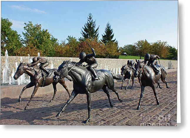 Thoroughbred Park Greeting Card by Roger Potts