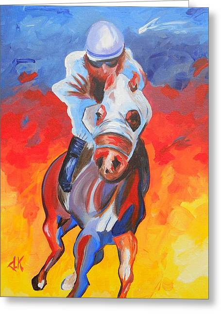 Race Horse Greeting Cards - Thoroughbred Strut Greeting Card by David Keenan