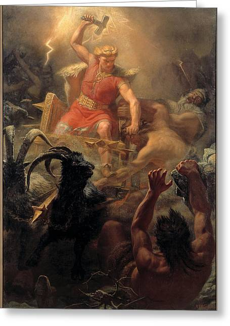 Thor Paintings Greeting Cards - Thors Fight with the Giants Greeting Card by Marten Eskil Winge