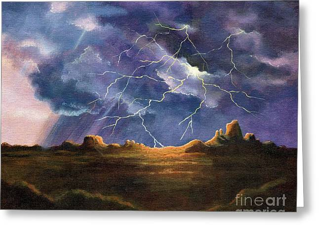 Thor Paintings Greeting Cards - Thors Fury Greeting Card by Marilyn Smith