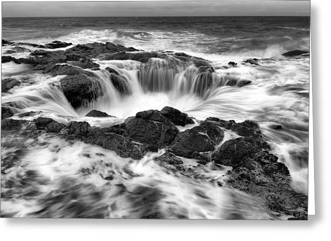 Thor's Well Monochrome Greeting Card by Robert Bynum