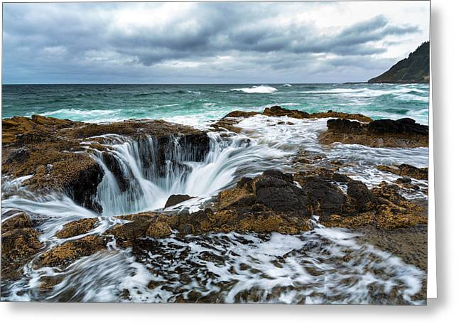 Thor's Well Greeting Card by Robert Bynum