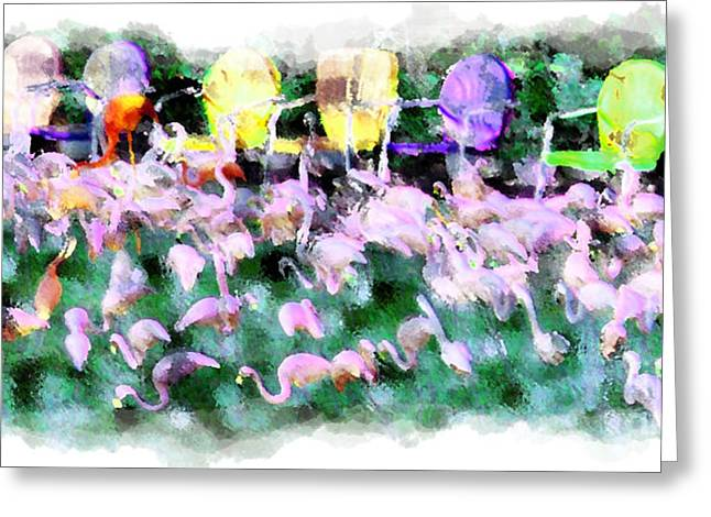 Recently Sold -  - Lawn Chair Greeting Cards - Those Crazy Flamingos Greeting Card by Jack Gannon