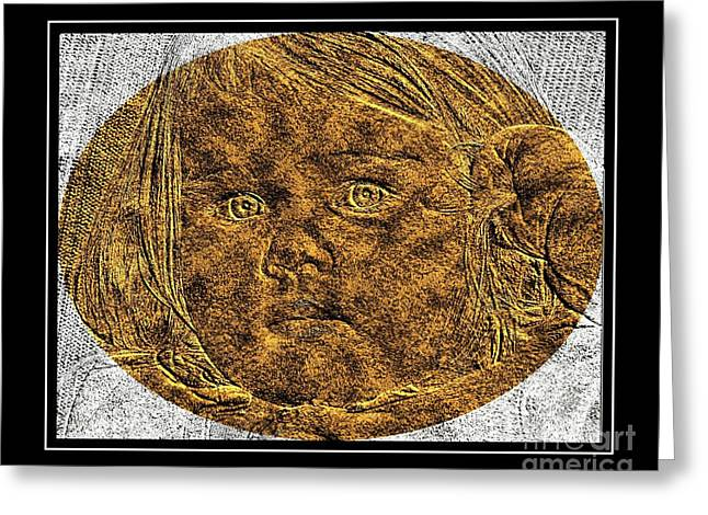 Brass Etching Greeting Cards - Beautiful Baby Girl - Brass Etching Greeting Card by Barbara Griffin