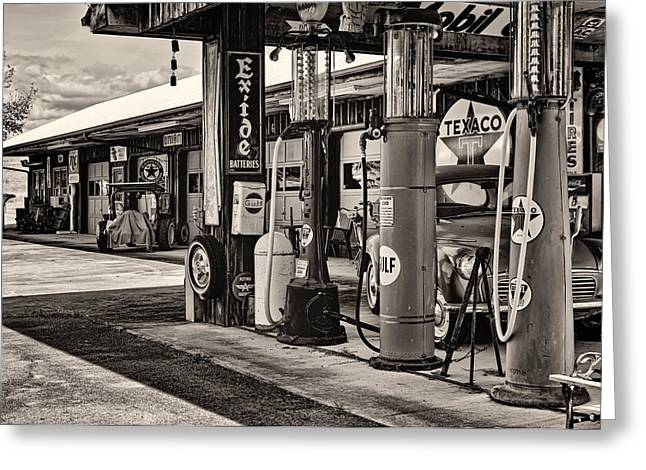 Texaco Sign Greeting Cards - Those Were the Days Greeting Card by Heather Applegate