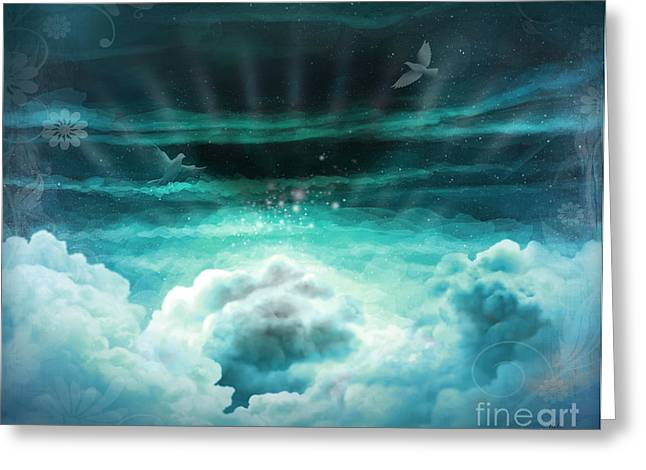 Gray Bird Greeting Cards - Those Who Have Departed - Celestial Version Greeting Card by Bedros Awak