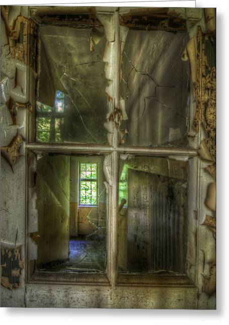 Haunted House Digital Greeting Cards - Though the windows Greeting Card by Nathan Wright