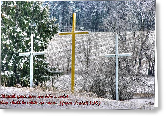Testament Greeting Cards - Though Your Sins Are Like Scarlet - They Shall Be White As Snow - from Isaiah 1.18 Greeting Card by Michael Mazaika