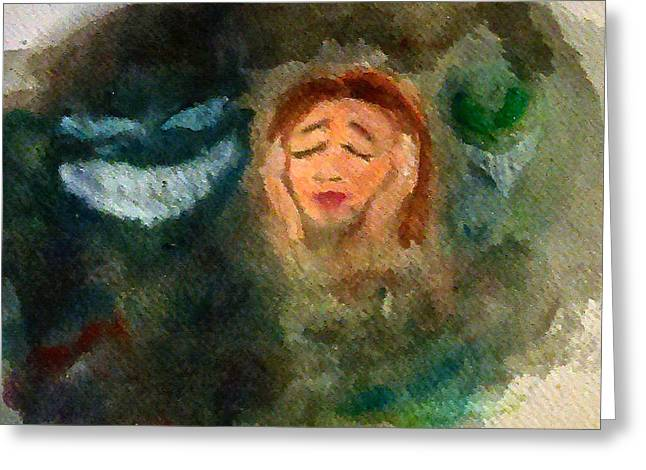 Torment Pastels Greeting Cards - Coming Undone Greeting Card by Jennie Hallbrown