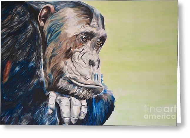 Chimpanzee Pastels Greeting Cards - Thoughtful Chimpanzee Greeting Card by Helen Esdaile